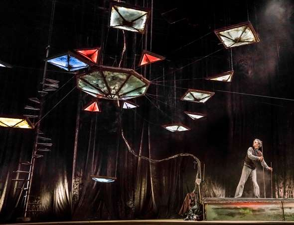 Creator James Thierrée and the show's centerpiece, a vaguely ominous mobile. (Richard Haughton)
