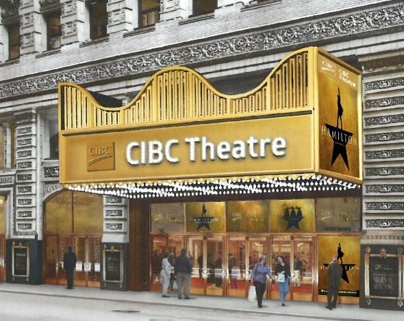 Rendering of the former PrivateBank Theatre newly emblazoned CIBC Theatre. (Courtesy Broadway In Chicago)