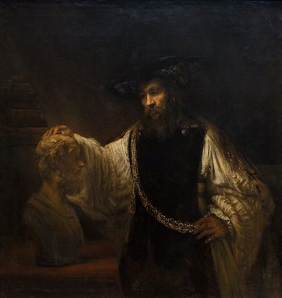 "Rembrandt's painting ""Aristotle Contemplating a Bust of Homer."""