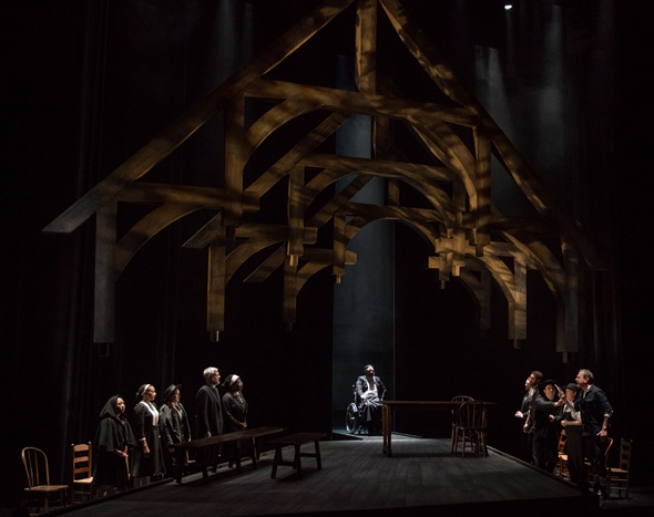 A maw-like crown looms over the stark set of 'The Crucible' at Steppenwolf. (Michael Brosilow)