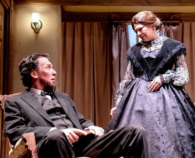 In stressful times, Mary Todd Lincoln (Linda Reiter) looks to her husband (Lawrence Grimm) for reassurance. (Evan Hanover)