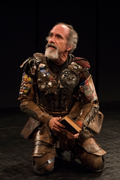 As the knight-errant Quixote, Godinez looks to the audience for assistance. (Michael Brosilow)