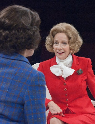 A bolt from the blue dressed in red: Carmen Roman as Margaret Thatcher. (Lara Goetsch)