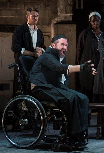 Rev. Hale (Erik Hellman, left) sees reason fly out the window as the judge (Michael Patrick Thornton) rails against witchcraft in 'The Crucible.' (Michael Brosilow)