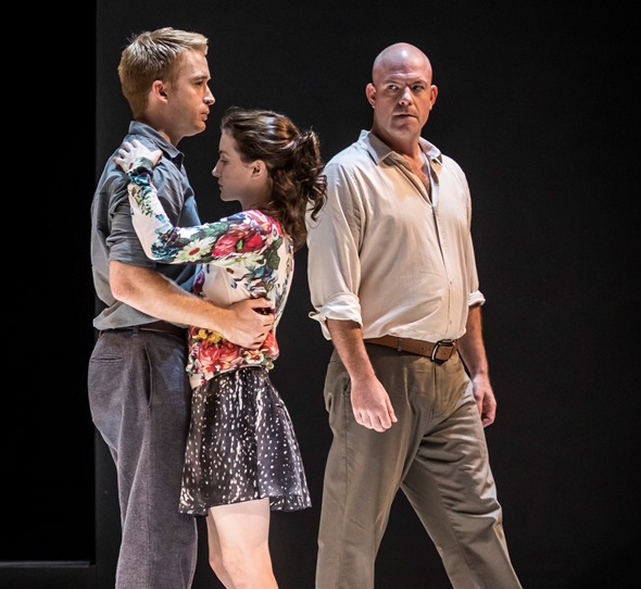 Eddie (Ian Bedford) circles warily as his niece Catherine (Catherine Combs) is drawn to Rodolpho (Daniel Abeles). (Liz Lauren)