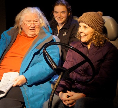 Piled into the car: Daphne (Kathleen Ruhl), Sadie (Emma Maltby) and Rebecca (Jacqueline Grandt). (Jan Ellen Graves)