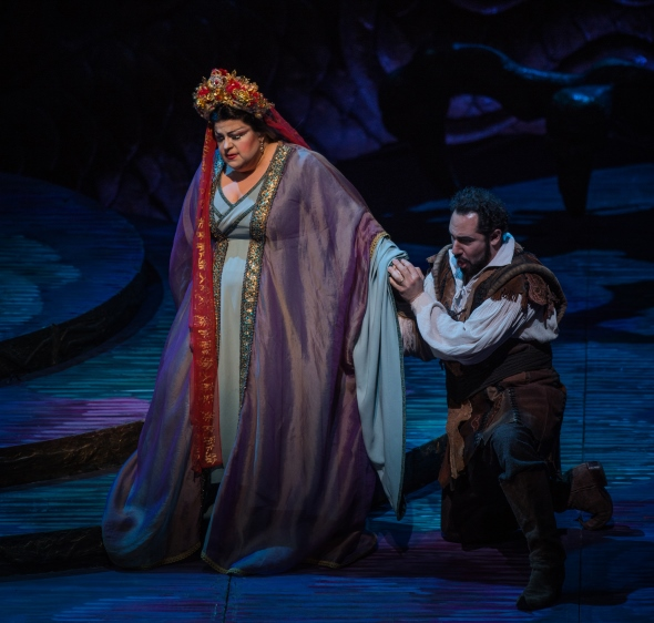 Calaf (Stefano La Colla) appeals to the heart of the icy princess Turandot (Amber Wagner). (Todd Rosenberg)