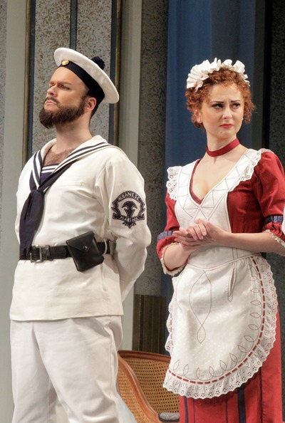 Guglielmo (Joshua Hopkins) in disguise and Despina (Elena Tsallagova) in on the gag. (Cory Weaver)