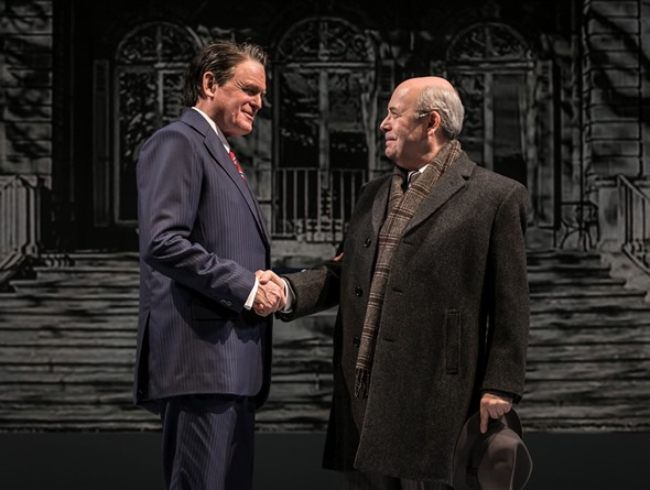 After long and delicate negotiations, Reagan (Rob Riley) and Gorbachev (William Dick) finally meet in 'Blind Date.' (Liz Lauren photo)